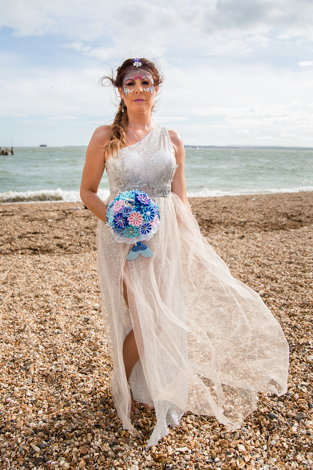 mermaid wedding - beach wedding - quirky wedding - unique wedding - alternative seaside wedding - festival bride - mermaid bride