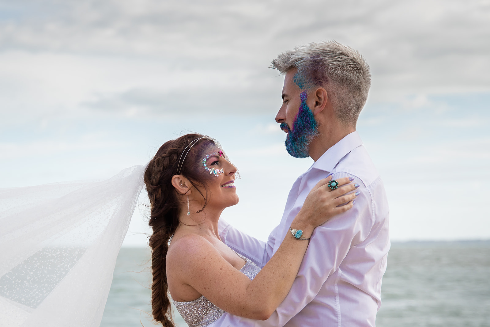 mermaid wedding - beach wedding - quirky wedding - unique wedding - alternative seaside wedding - alternative wedding - festival wedding makeup