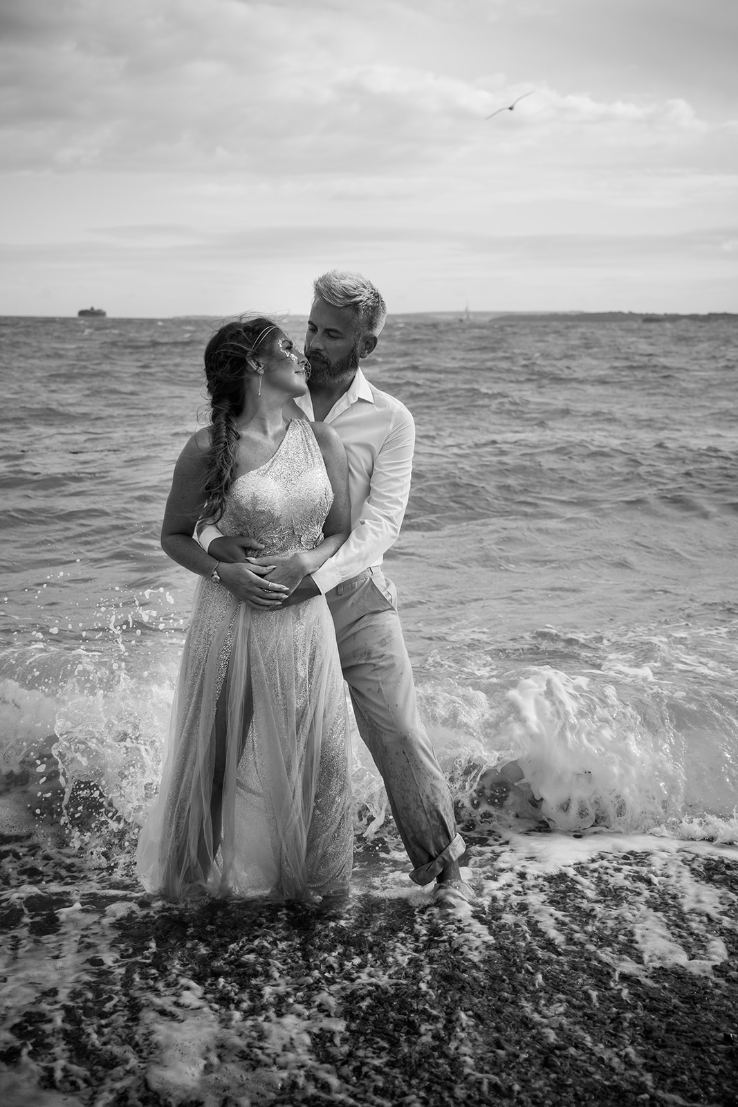 mermaid wedding - beach wedding - quirky wedding - unique wedding - alternative seaside wedding - alternative wedding - bride and groom at the beach