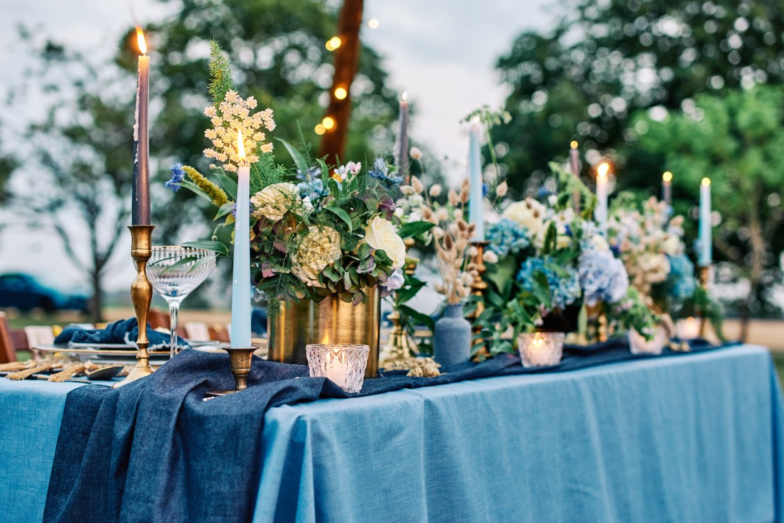 nhs wedding - paramedic wedding - blue and gold wedding - outdoor wedding - micro wedding - surprise wedding - eclectic wedding table styling