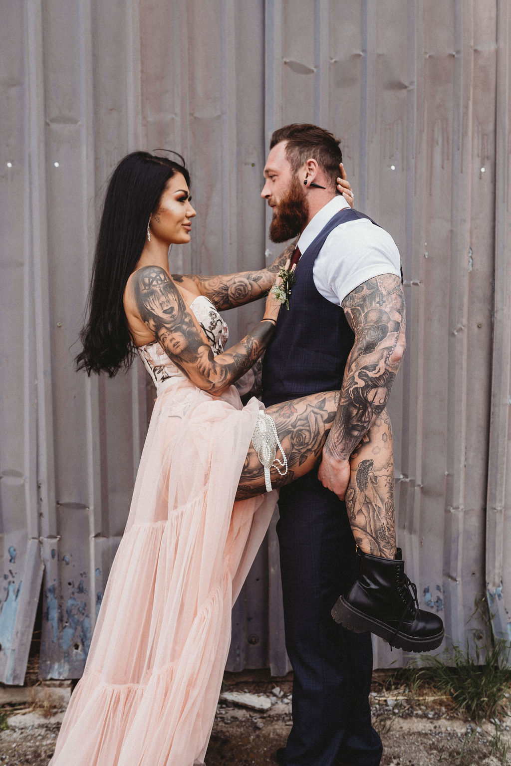alternative farm wedding, edgy wedding, tattooed wedding, alternative wedding - industrial wedding venue