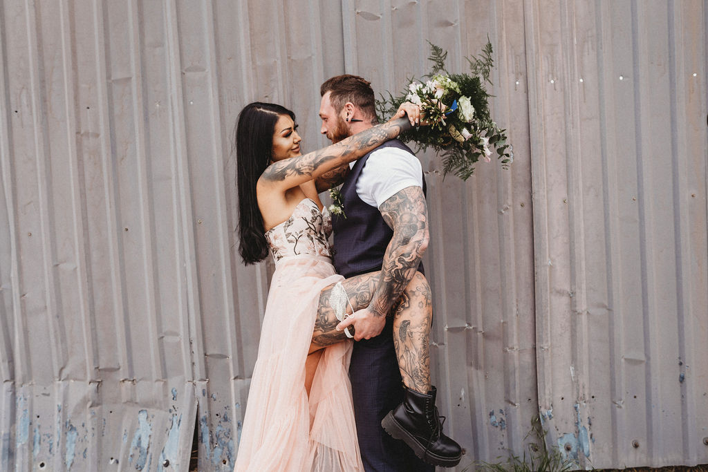 tattooed wedding couple - alternative wedding wear - industrial wedding - alternative farm wedding, edgy wedding, tattooed wedding, alternative wedding