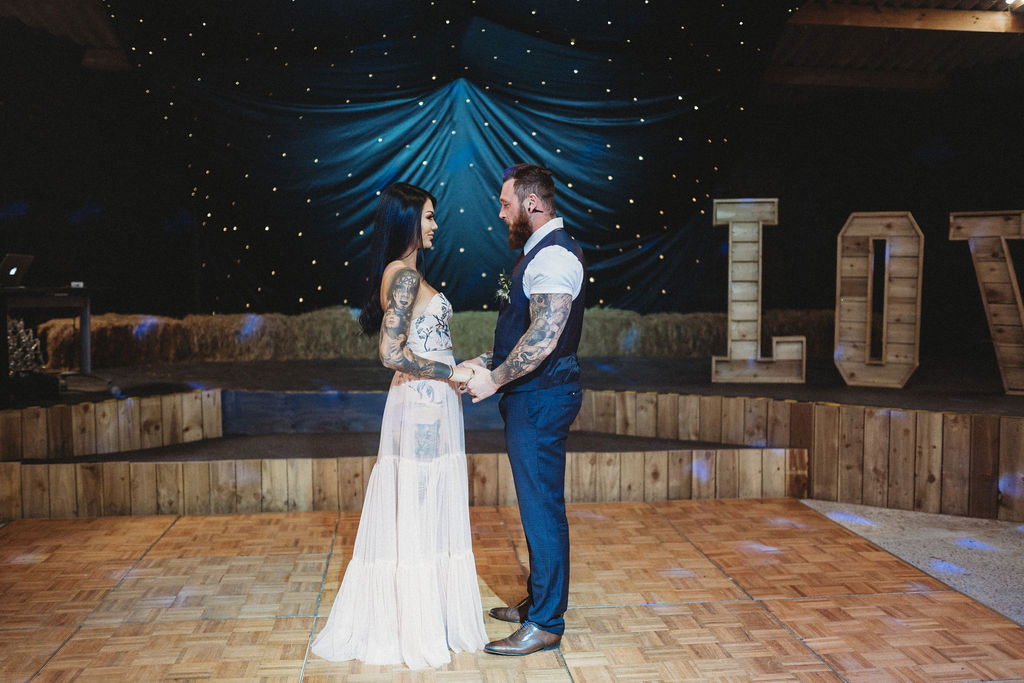 barn wedding - barn dance floor - alternative farm wedding, edgy wedding, tattooed wedding, alternative wedding