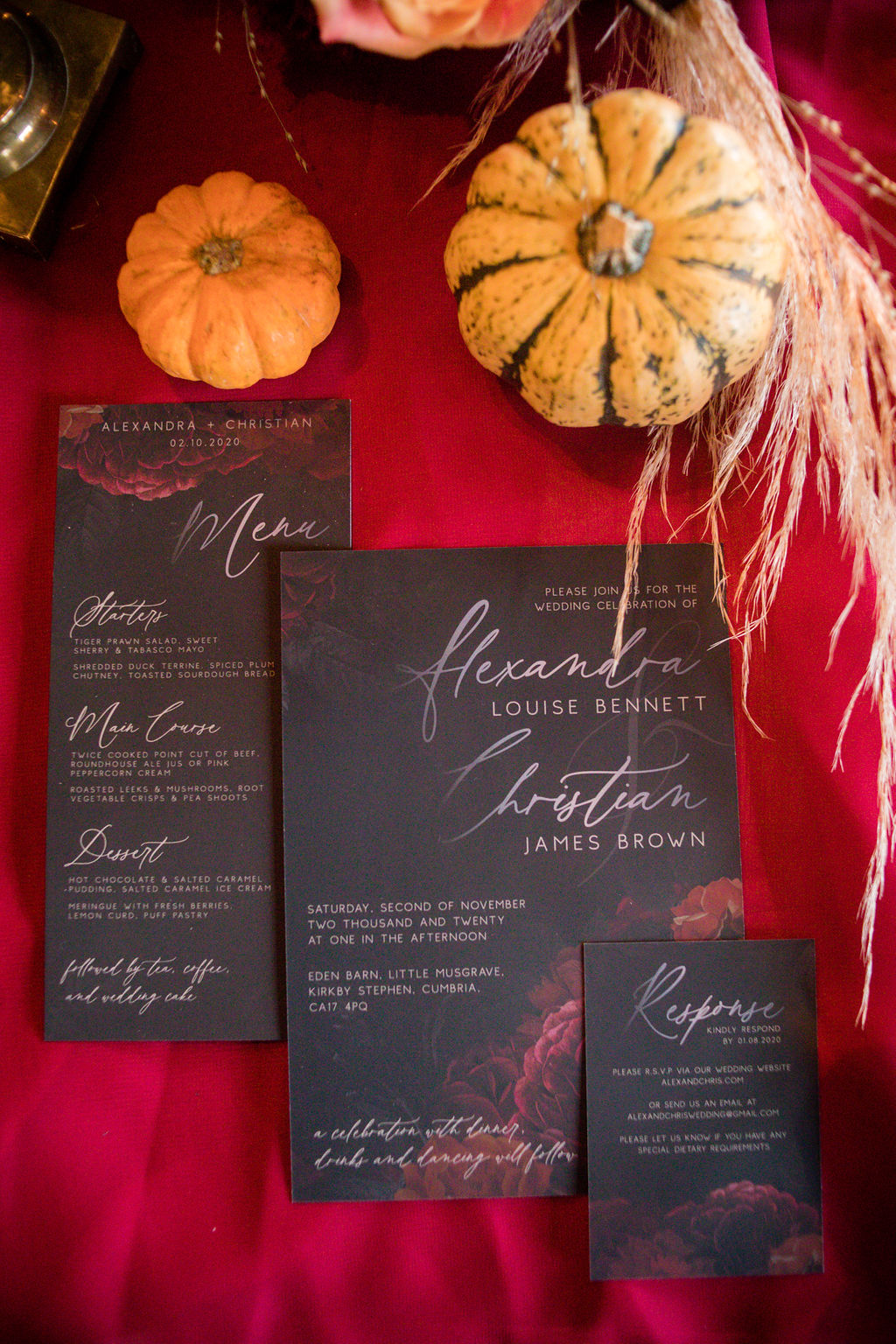 gothic wedding invitation- black wedding stationery - halloween wedding - pumpkin wedding