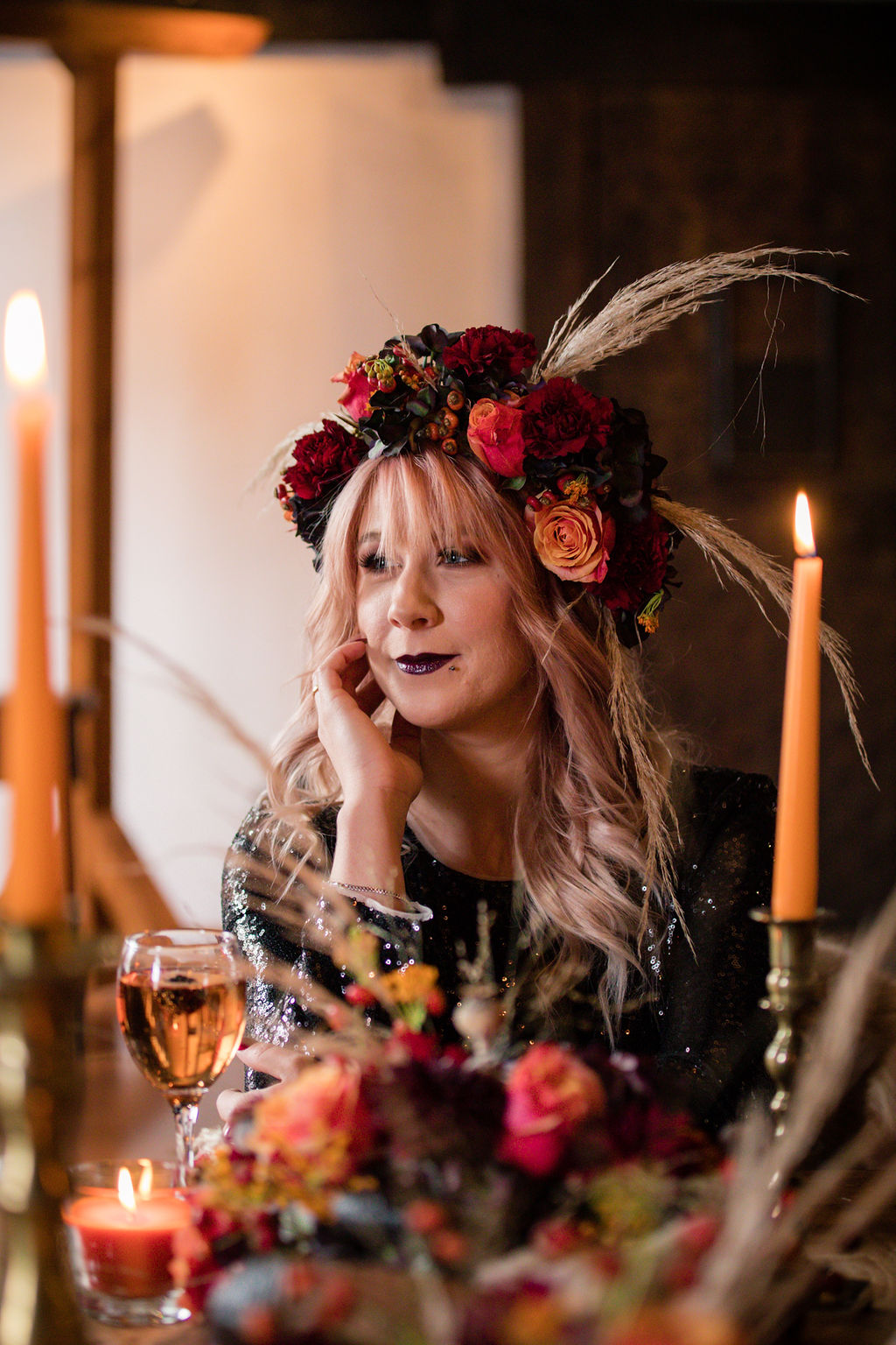 dark autumn wedding - edgy autumn wedding - gothic wedding - halloween wedding - wedding flower crown - autumn flower crown