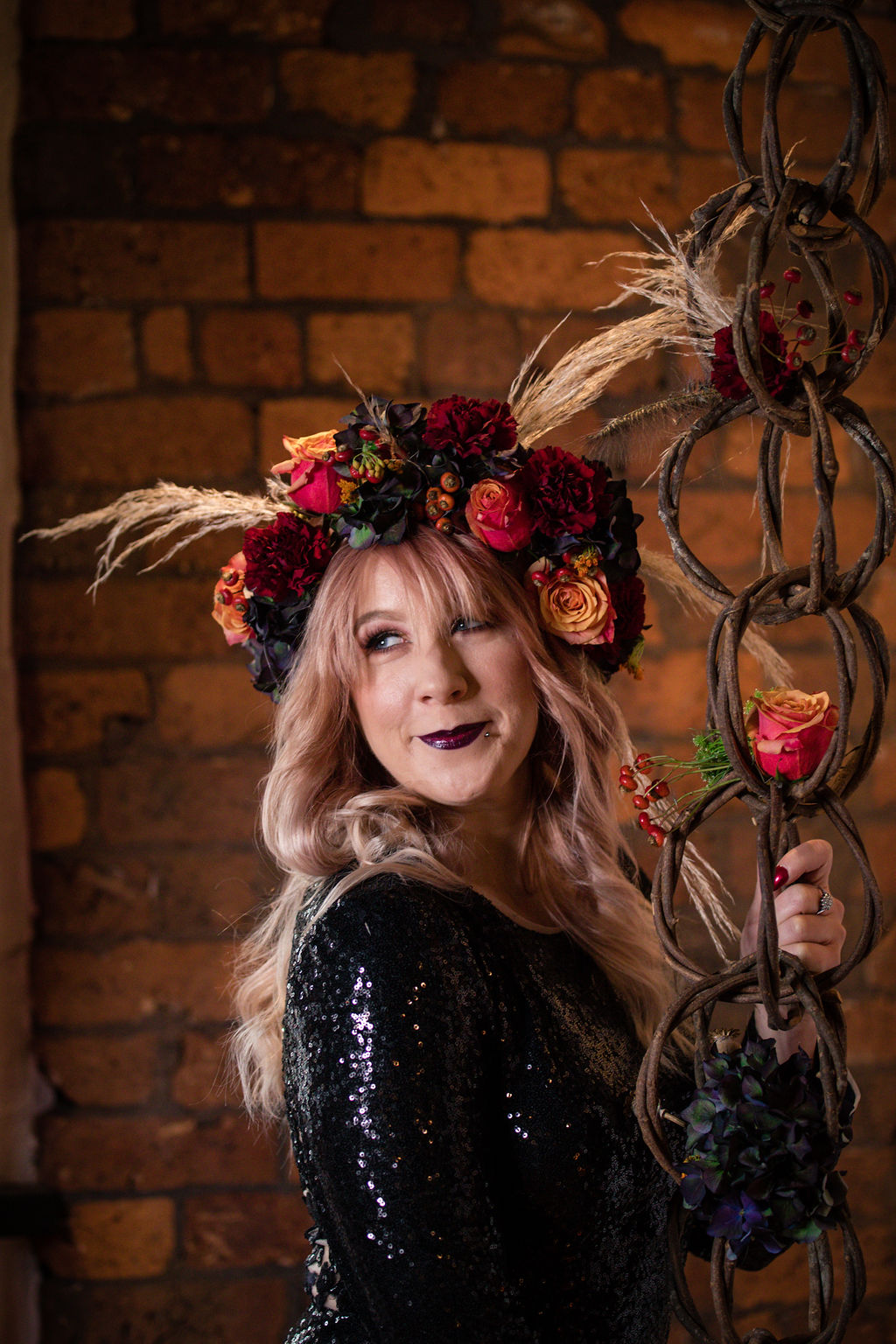 dark autumn wedding - autumn flower crown - bridal flower crown - black wedding dress - autumnal bridal wear - autumn bridal portrait - edgy autumn wedding