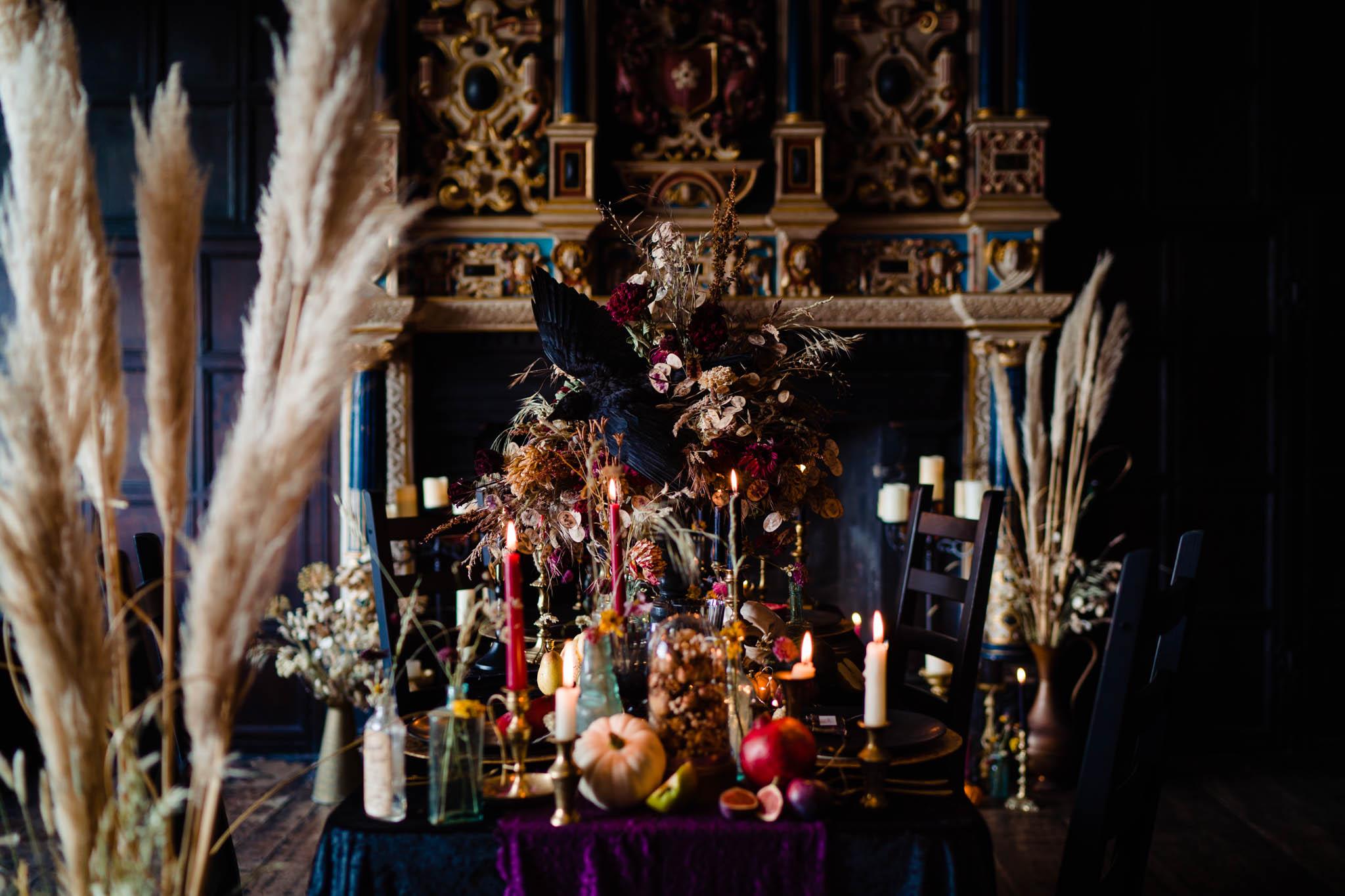 dark autumn wedding decoration with dried flowers