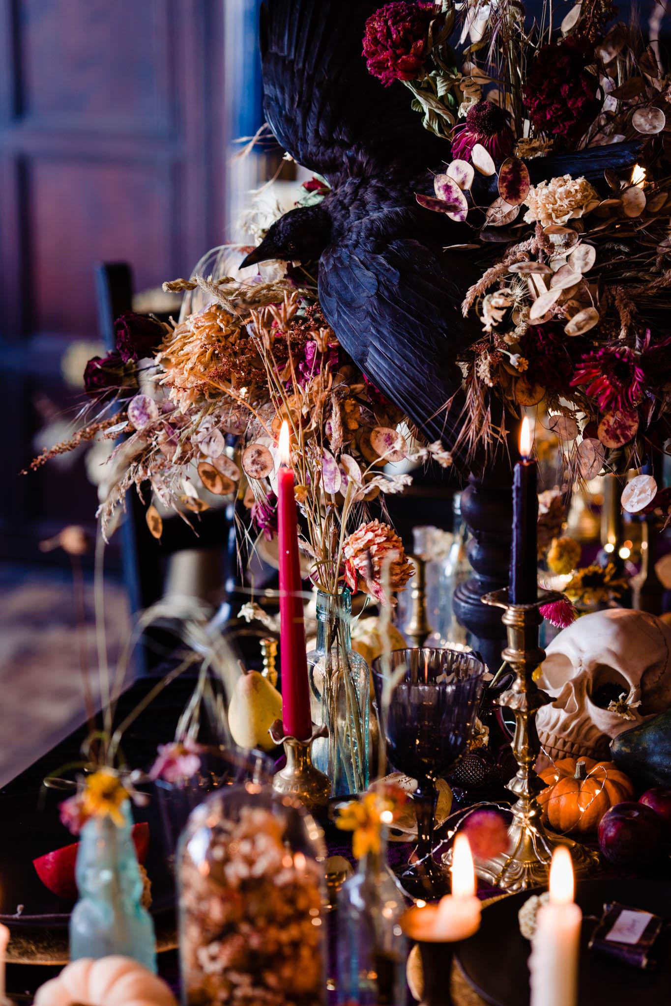 eclectic wedding decor with taxidermy crow - elegant gothic wedding - gothic wedding - halloween wedding - autumn wedding -