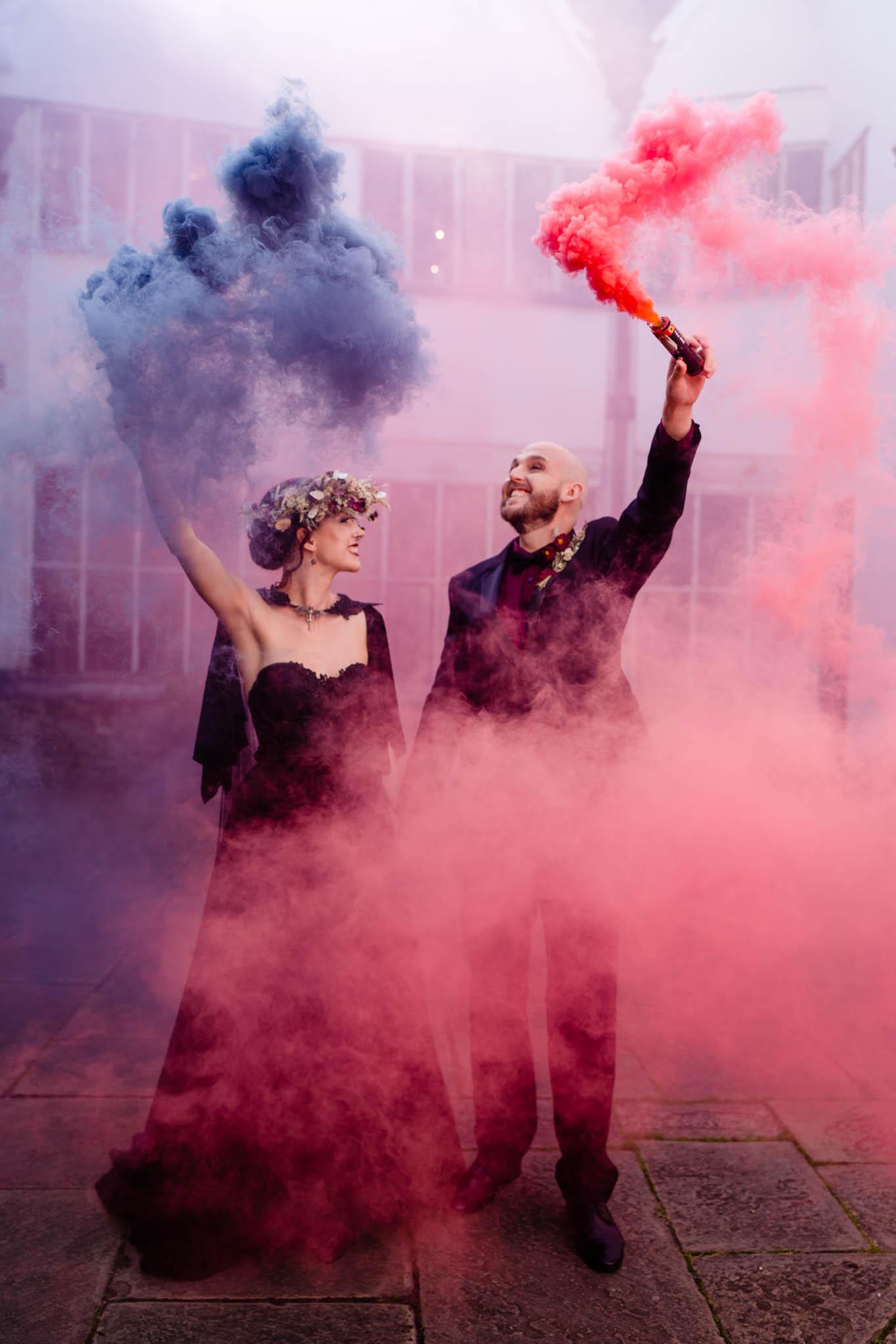 wedding smoke bomb -elegant gothic wedding - gothic wedding
