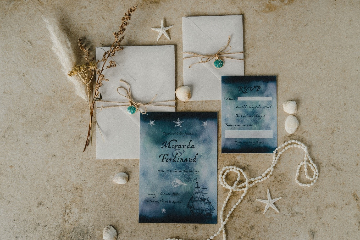 beach elopement - beach wedding - eco friendly wedding -tempest themed wedding - seaside wedding stationery -