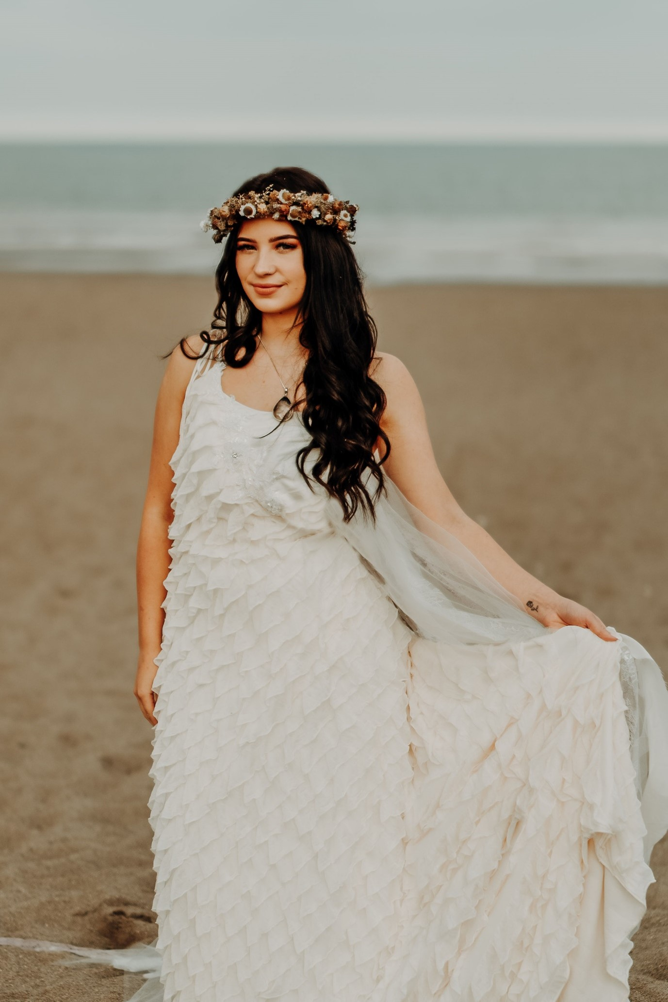 beach elopement - beach wedding - eco friendly wedding -tempest themed wedding - bohemian wedding dress- autumnal bridal flower crown