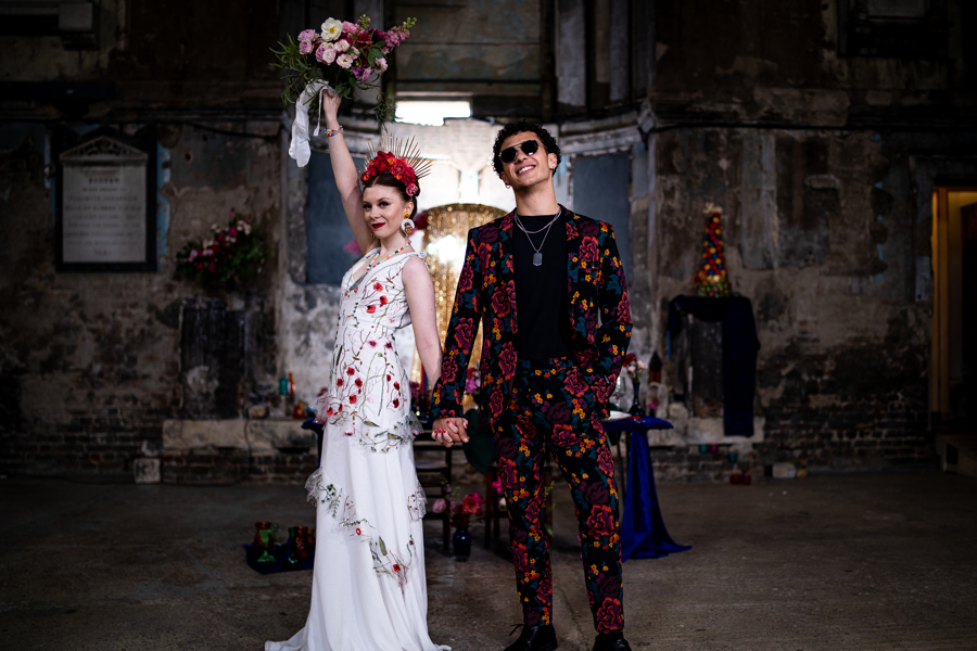 colourful alternative wedding - alternative bridal wear - embroidered wedding dress - unique grooms wear - patterned grooms suit - colourful edgy wedding