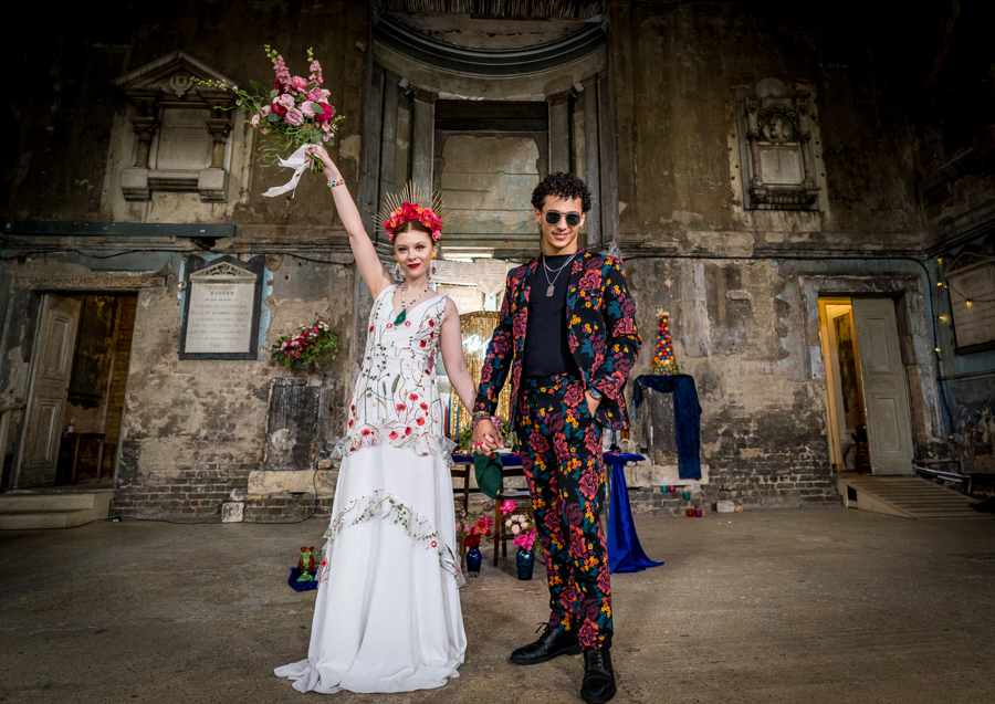 colourful alternative wedding - alternative bridal wear - embroidered wedding dress - unique grooms wear - patterned grooms suit - fun wedding photos
