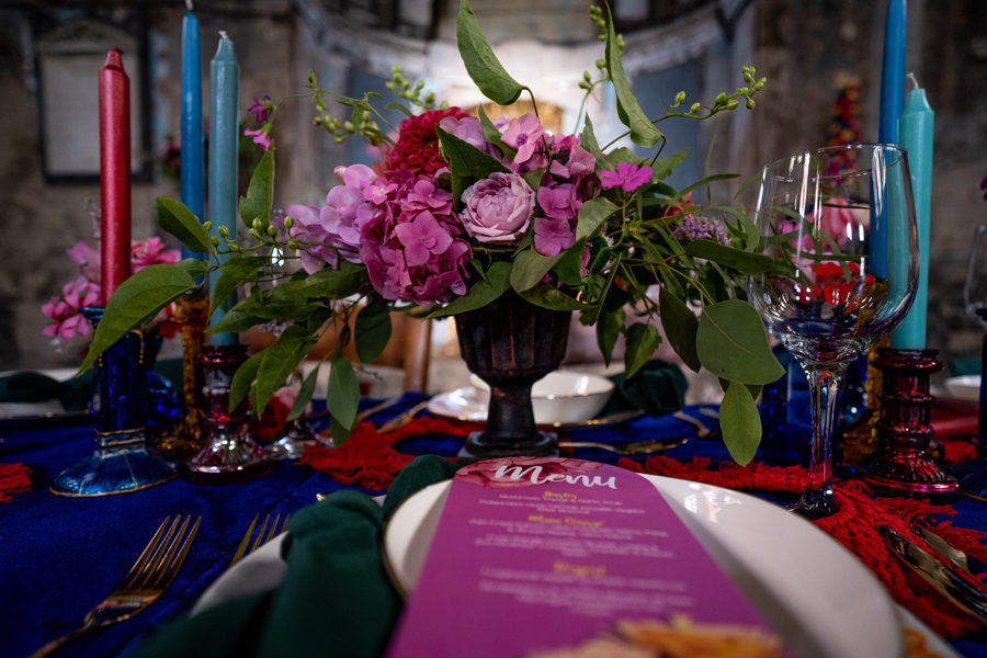 colourful alternative wedding - colourful wedding table - eclectic wedding table styling - quirky wedding