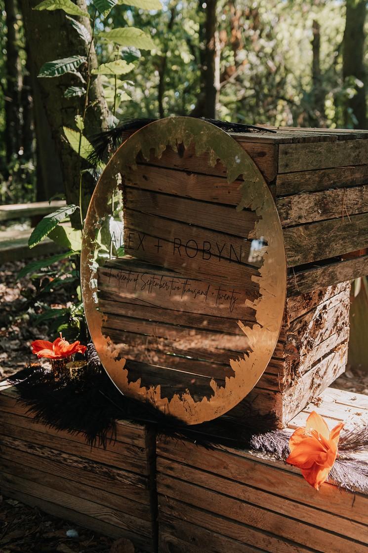 gold leaf wedding signage - forest wedding decor