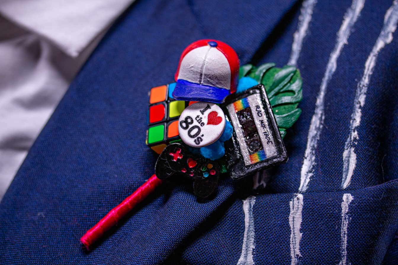 80s buttonhole - 80s grooms wear - quirky buttonhole -80s themed wedding - 80s wedding - bespoke wedding buttonhole