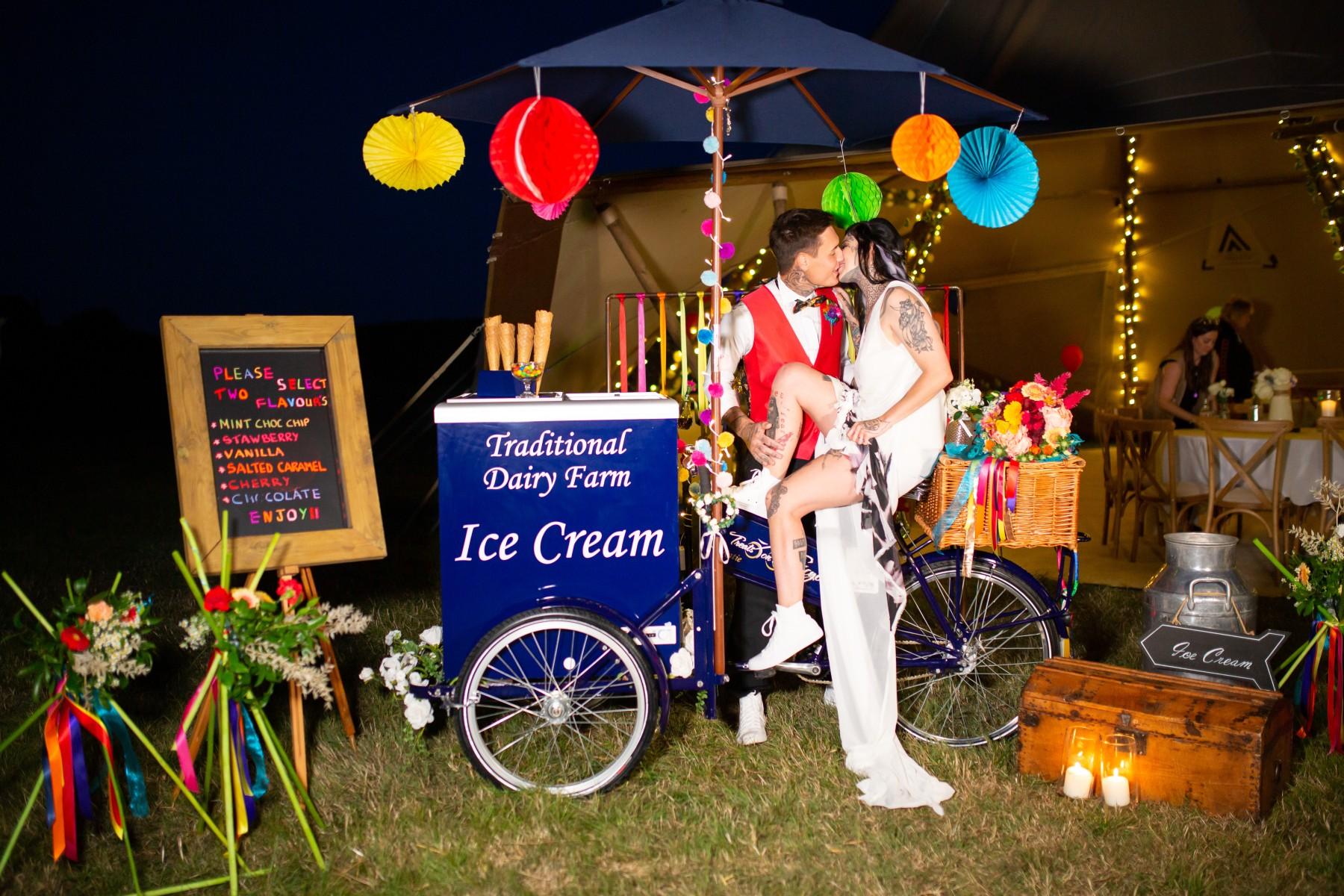 rainbow festival wedding - colourful wedding - quirky wedding ideas - wedding ice cream cart
