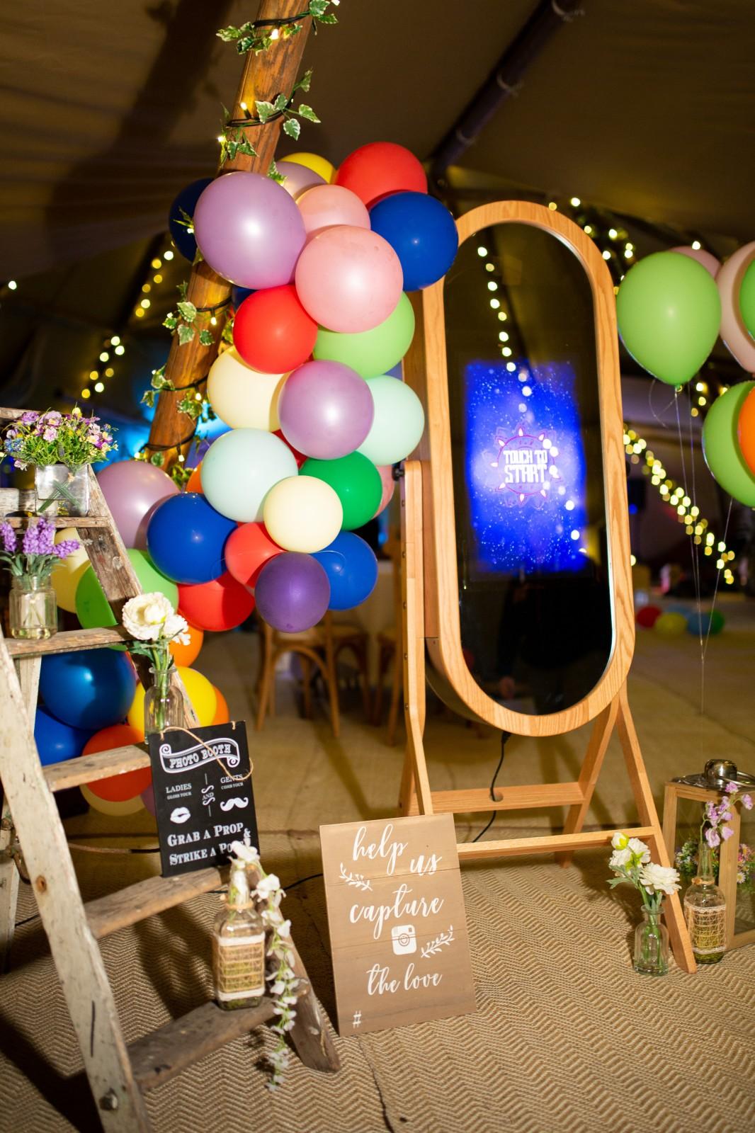 rainbow festival wedding - colourful wedding - quirky wedding ideas - wedding selfie mirror