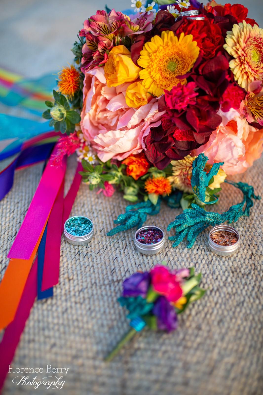 rainbow festival wedding - colourful wedding - quirky wedding ideas - colourful wedding flowers - rainbow wedding bouquet