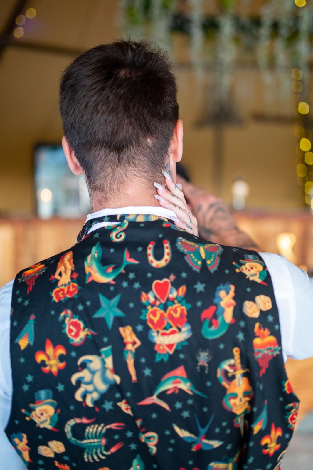 alternative grooms wear - quirky grooms waistcoat - patterned mens waistcoat