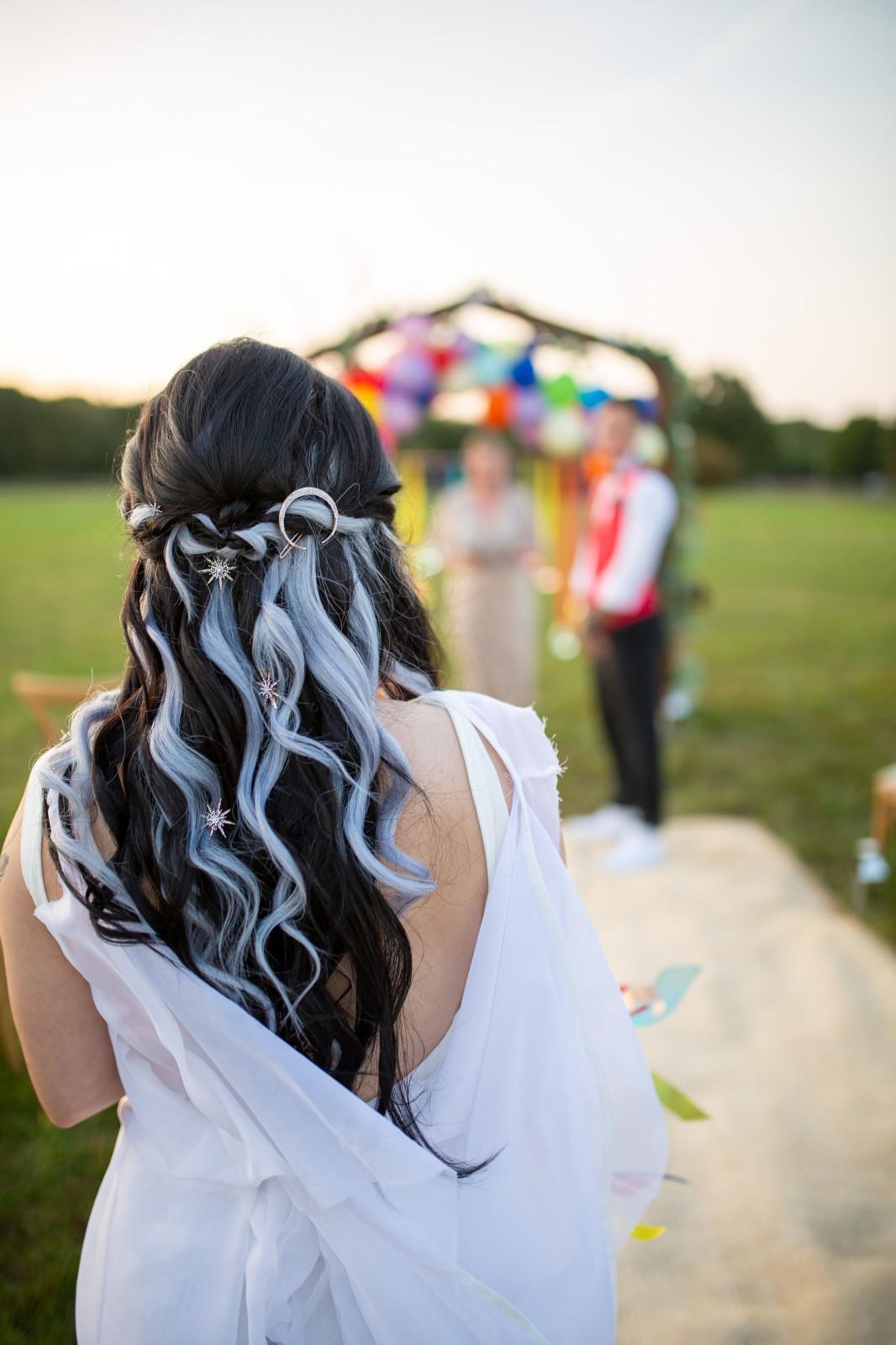 alternative wedding hair - celestial bridal hair - brown hair with blue streaks - bridal hair accessories