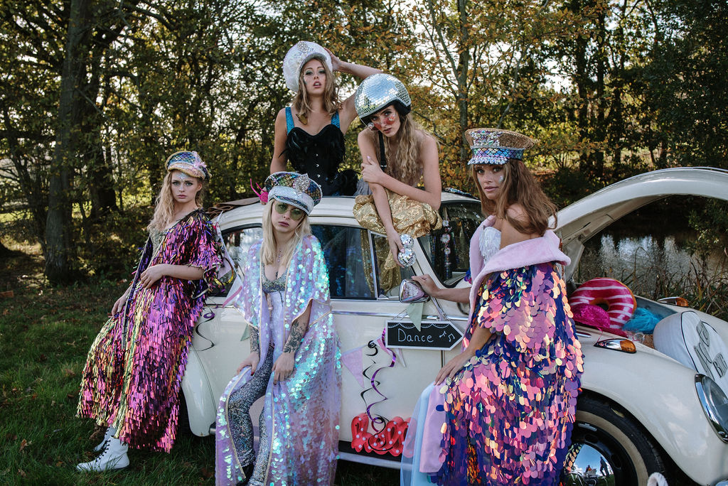 glitter wedding - festival bridal looks - fun festival wedding - alternative bridal wear - quirky wedding transport - wedding beetle