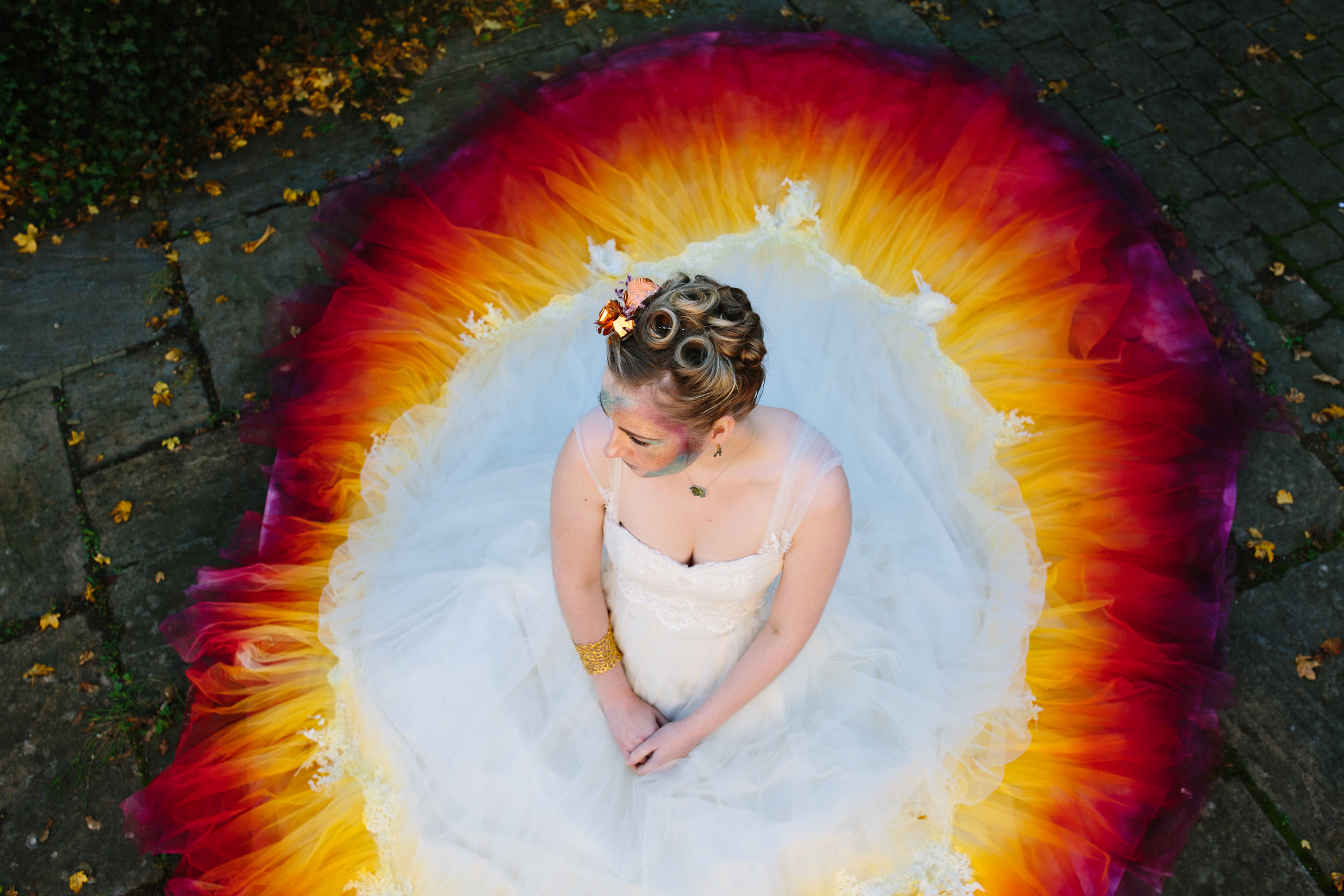 ombre wedding dress - dip dye wedding dress - alternative wedding dress - unique bridal wear - colourful wedding dress