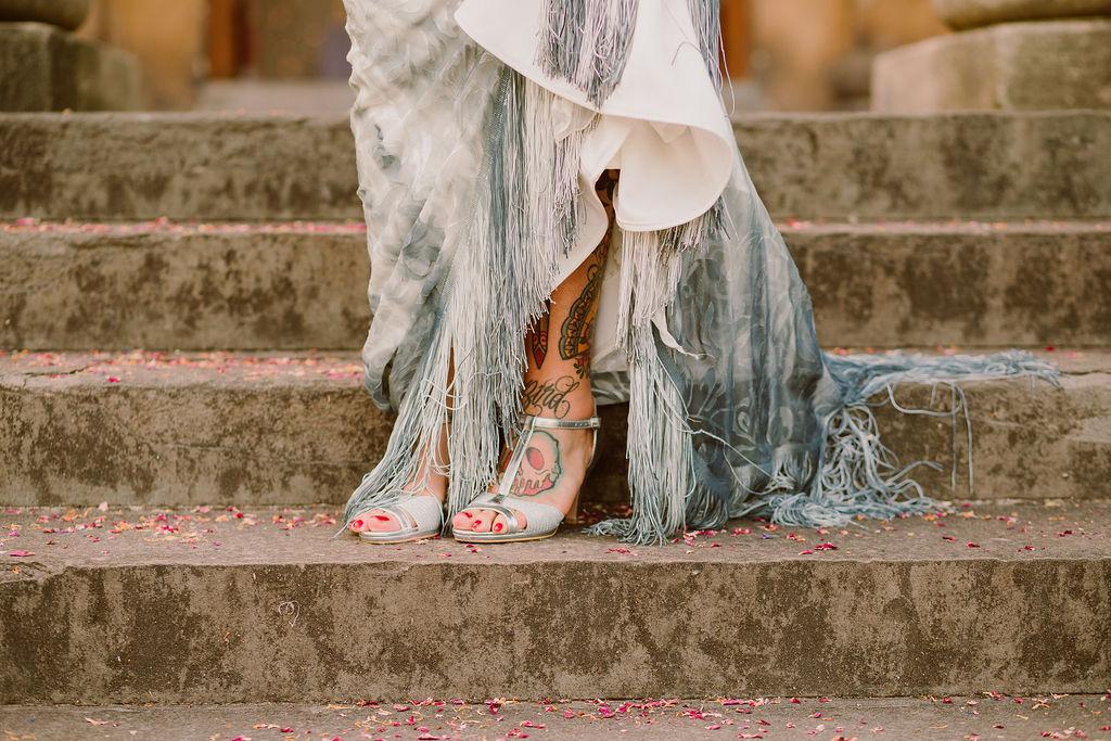 dip dye wedding dress with tassels - alternative wedding dress - ombre wedding dress - edgy wedding dress
