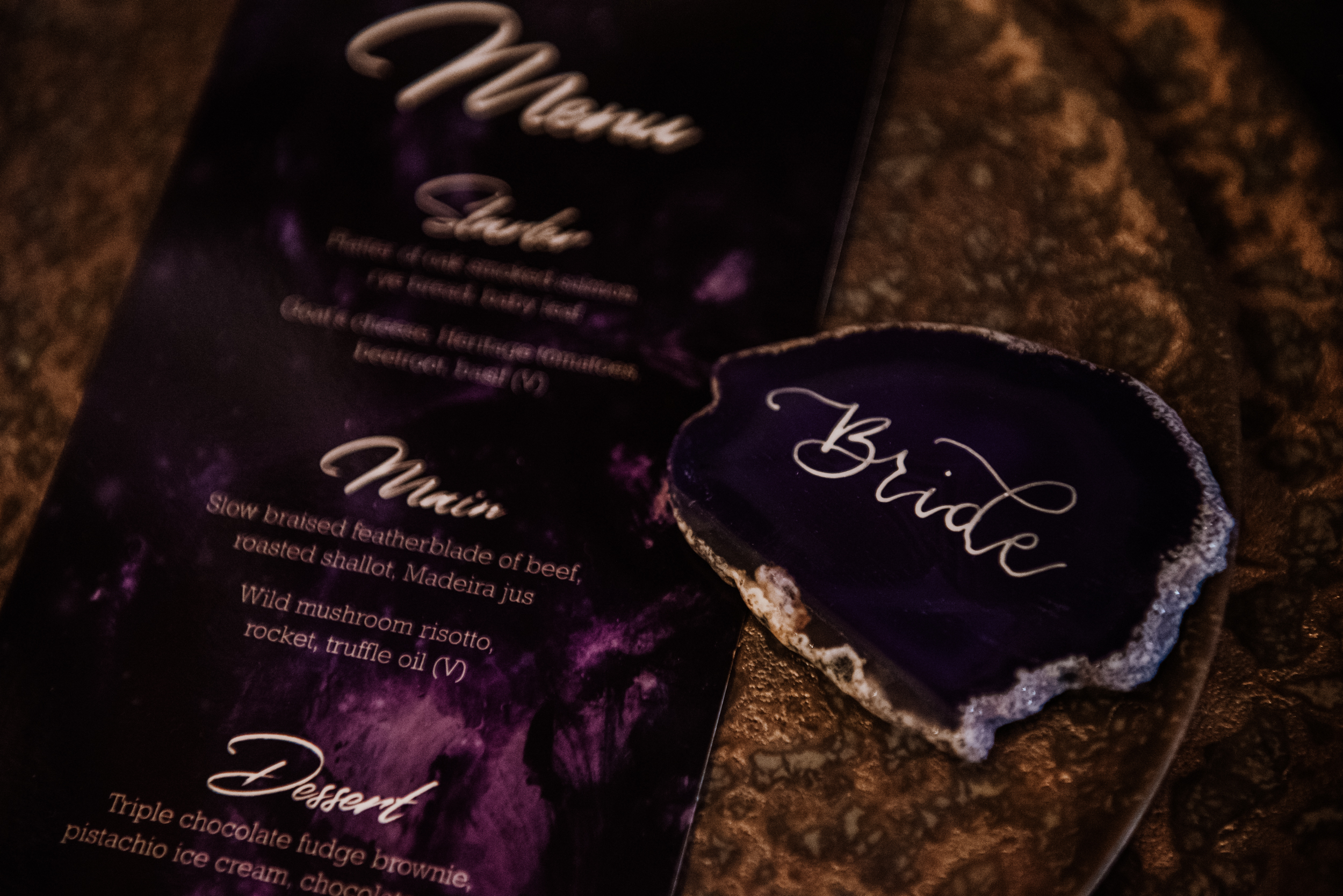 agate wedding name place - crystal name place - amethyst wedding