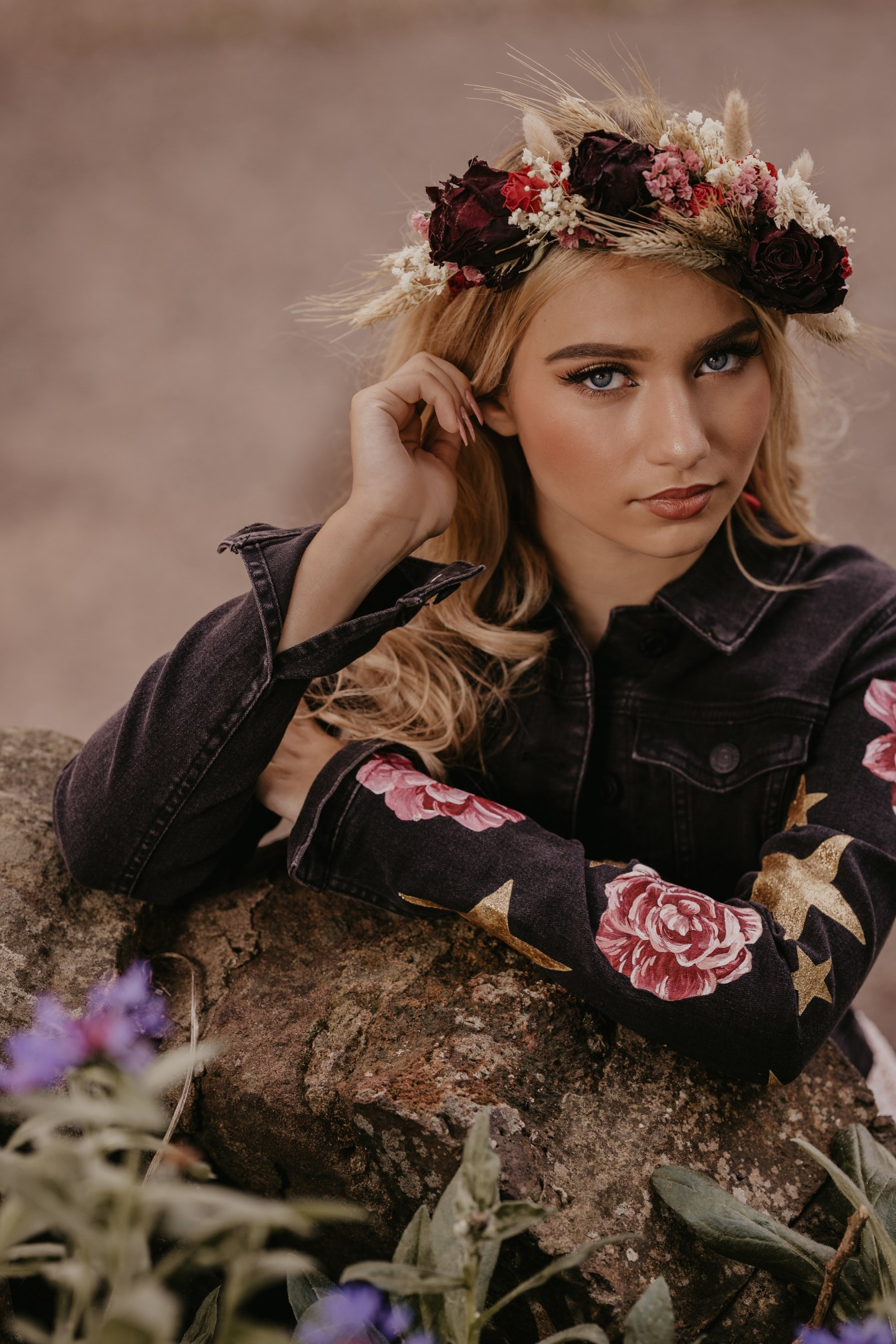 bridal flower crown & hand painted denim jacket