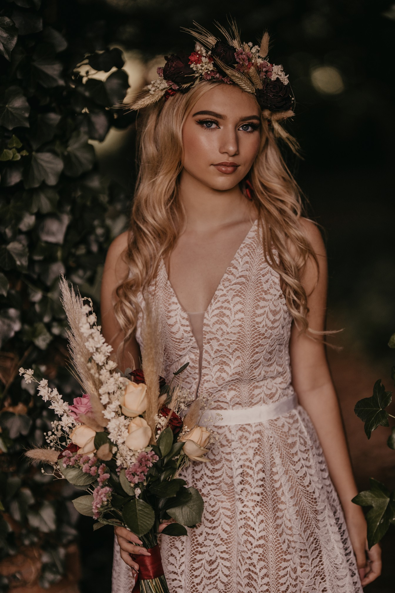 glowing bridal makeup, simple wedding dress and beautiful wedding flowers - fairytale boho wedding