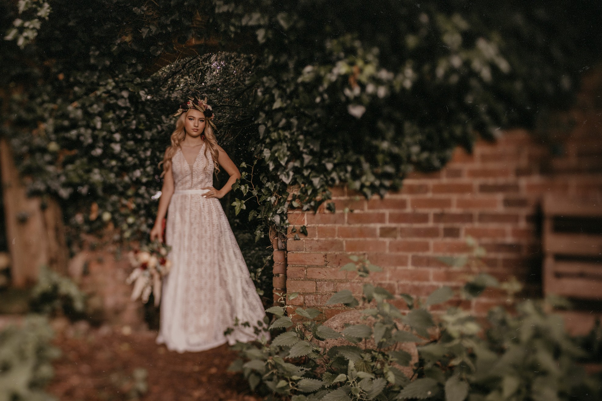 fairytale boho wedding - simple lace wedding dress and flower crown - secret garden wedding
