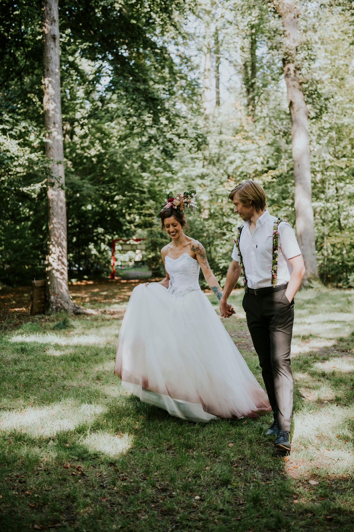 ethereal wedding - circus themed wedding - ombre wedding dress & quirky grooms wear
