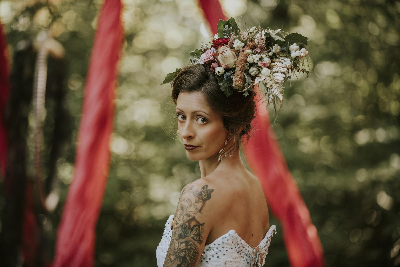 wedding floral headdress - unique bridal accessories - alternative bridal wear