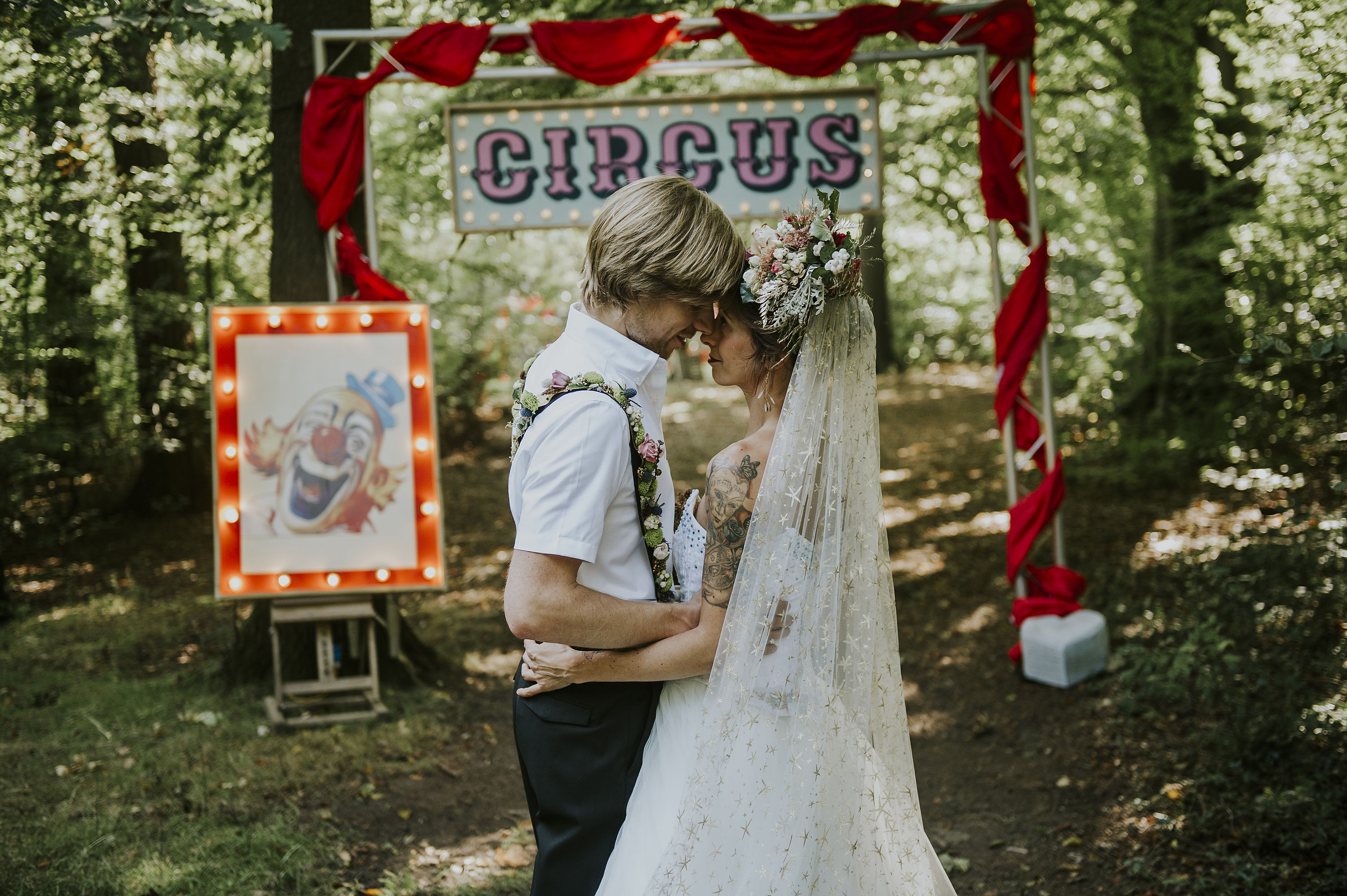circus woodland wedding - quirky circus wedding props - celestial bridal veil & unique wedding headdress
