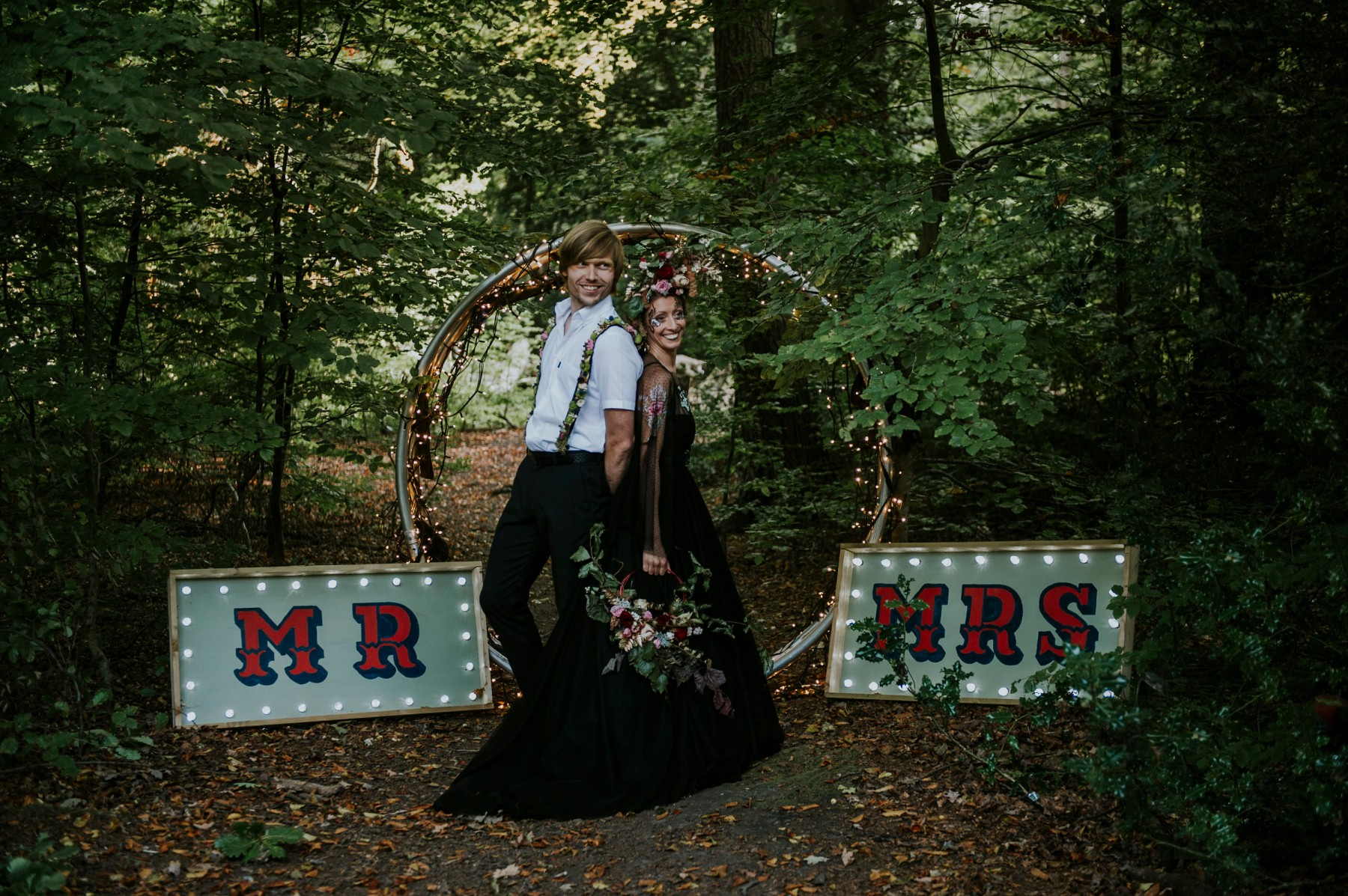 circus woodland wedding - retro mr & mrs sign - quirky wedding backdrop