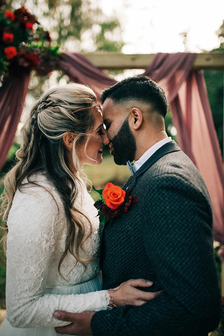 boho luxe wedding - romantic couples portrait - outdoor wedding inspiration