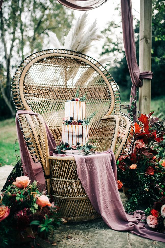 boho luxe wedding - drizzle wedding cake - boho wedding cake - bohemian wedding cake - bohemian wedding furniture hire