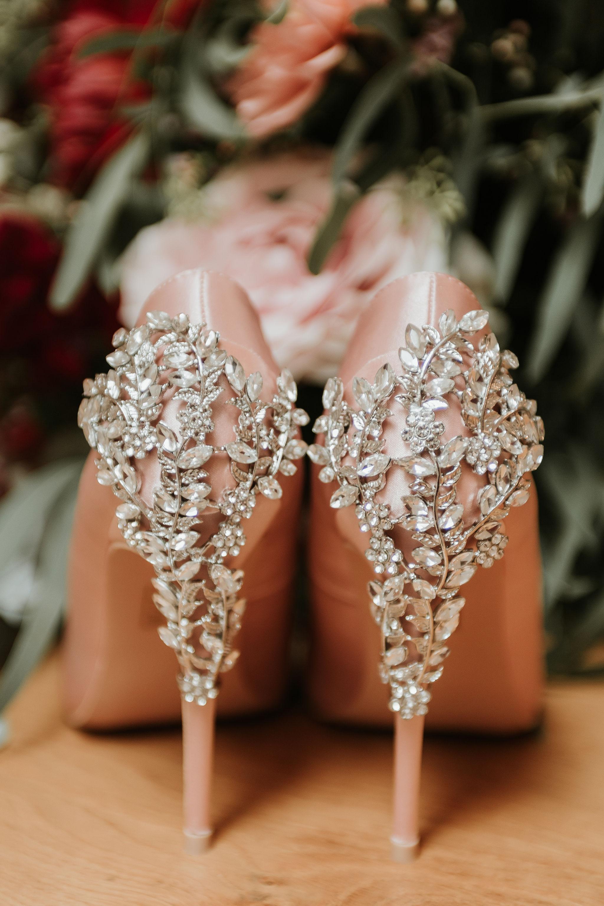 unique wedding shoes - pink sparkly wedding shoes