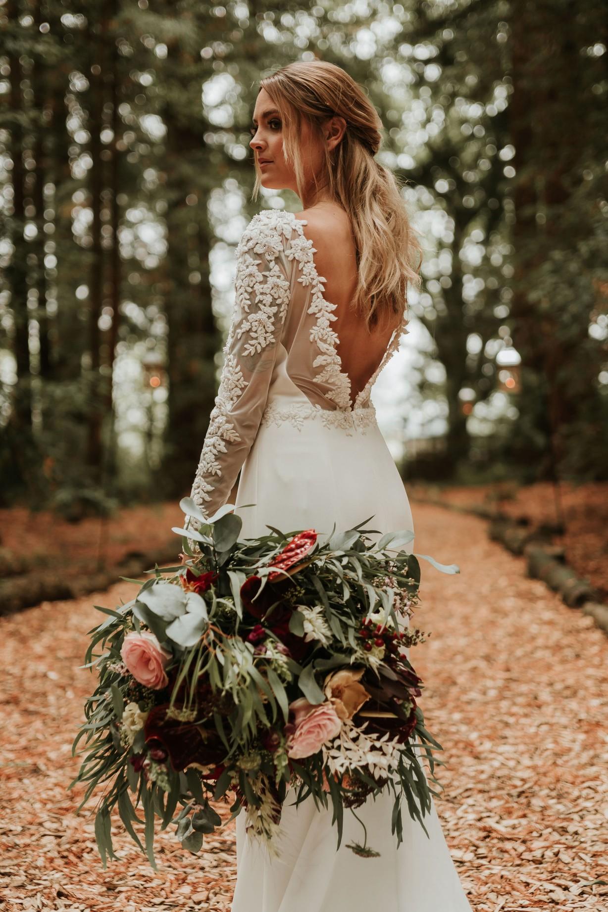 modern woodland wedding - elegant wedding dress - bold wedding bouquet