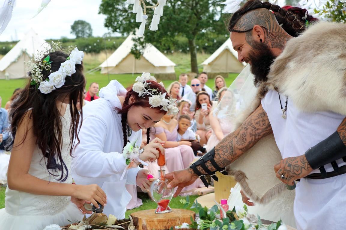 festival viking wedding - alternative wedding inspiration - unconventional wedding - alternative wedding blog - sand mixing wedding ceremony