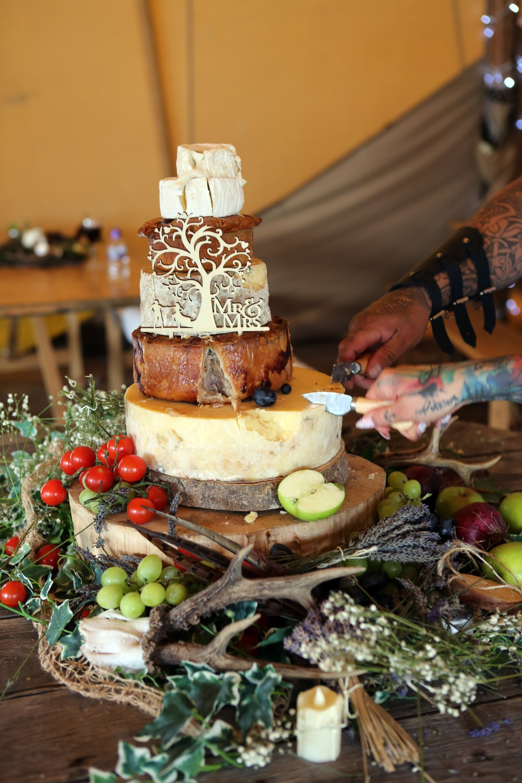 cheese wedding cake - pork pie wedding cake - wedding cake alternatives