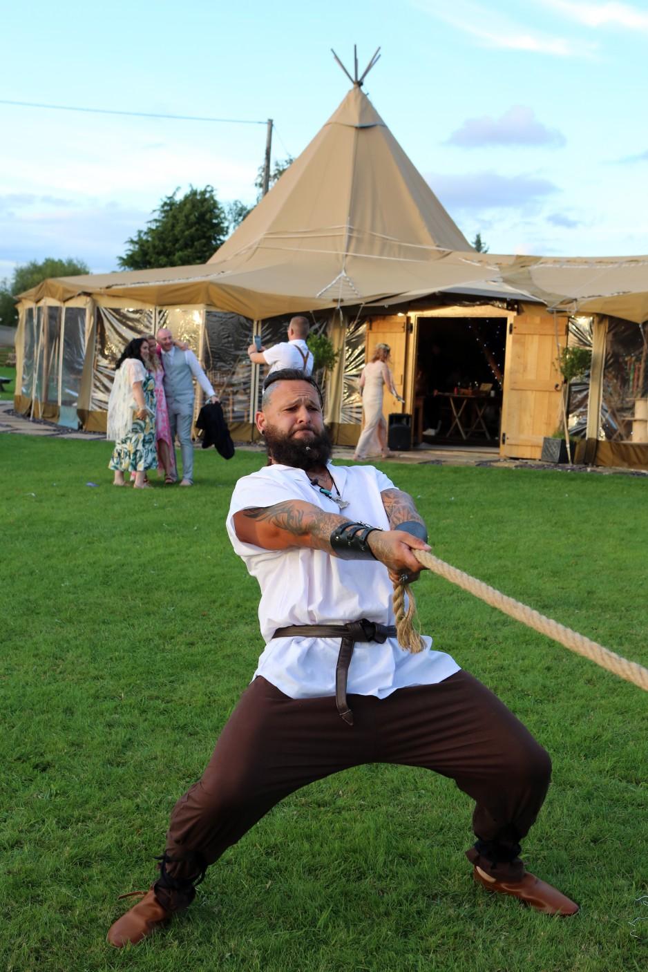 viking festival wedding - fun wedding ideas - wedding tug of war