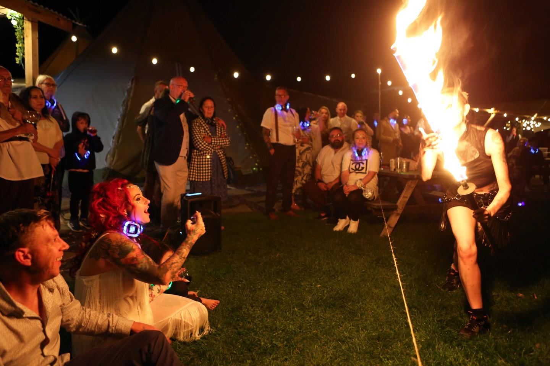 alternative wedding entertainment - festival wedding - fire dancer wedding entertainment