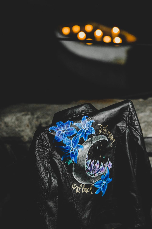 alternative bridalwear - bridal leather jacket - hand painted bridal jacket