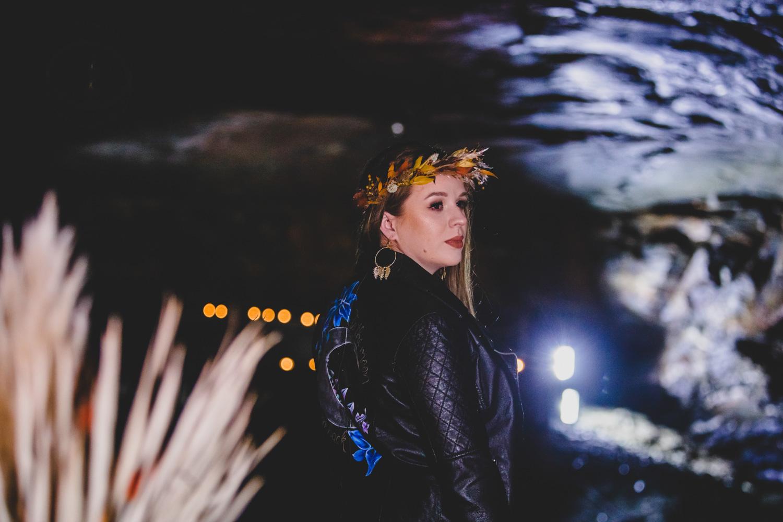 cave wedding - alternative wedding venue - unconventional wedding - alternative wedding blog - hand painted bridal jacket