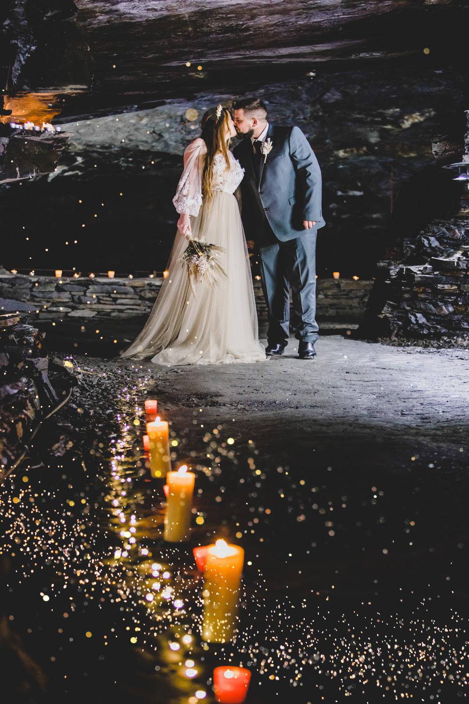 cave wedding - alternative wedding venue - unconventional wedding - candle lit wedding - magical wedding