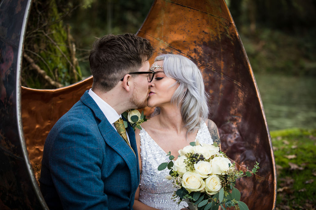 bride and groom kiss - winter elopement - simple wedding - pandemic wedding - small wedding - unconventional wedding