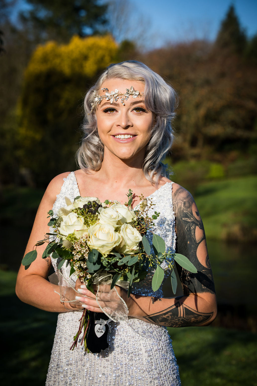 unique bridal headdress and sparkly wedding dress - unique bridalwear