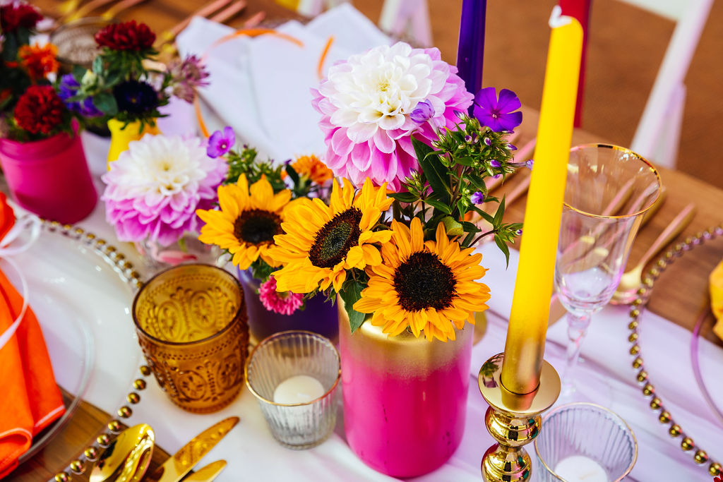 bright festival wedding - colourful wedding flowers - festival wedding sunflowers - colourful wedding table styling
